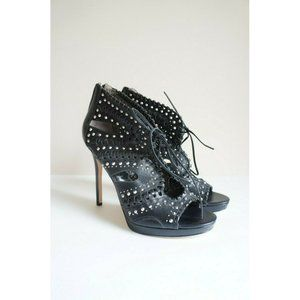 New Sam Edelman Elyse Leather Lace Up Stud Heels